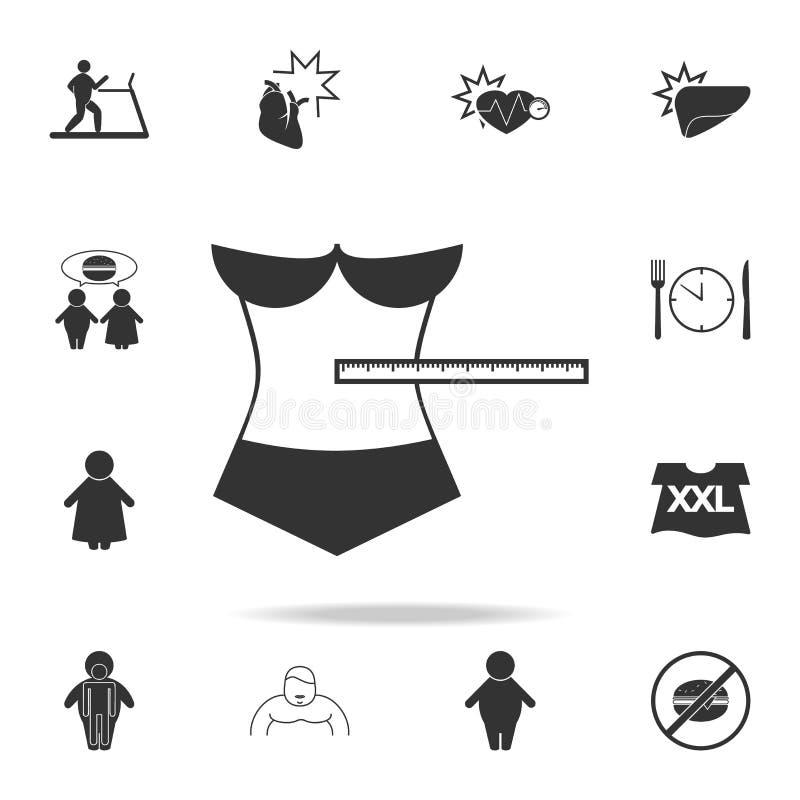 icono de la medida de la anchura de la cintura Sistema detallado de iconos de la obesidad Diseño gráfico superior Uno de los icon ilustración del vector