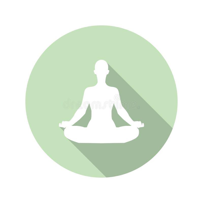 Icono de la meditación en un diseño plano con la sombra larga Ilustración del vector stock de ilustración