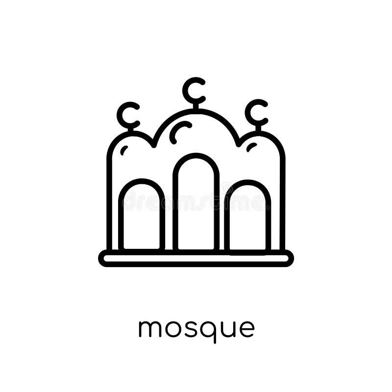 Icono de la mezquita Icono linear plano moderno de moda de la mezquita del vector en whi libre illustration