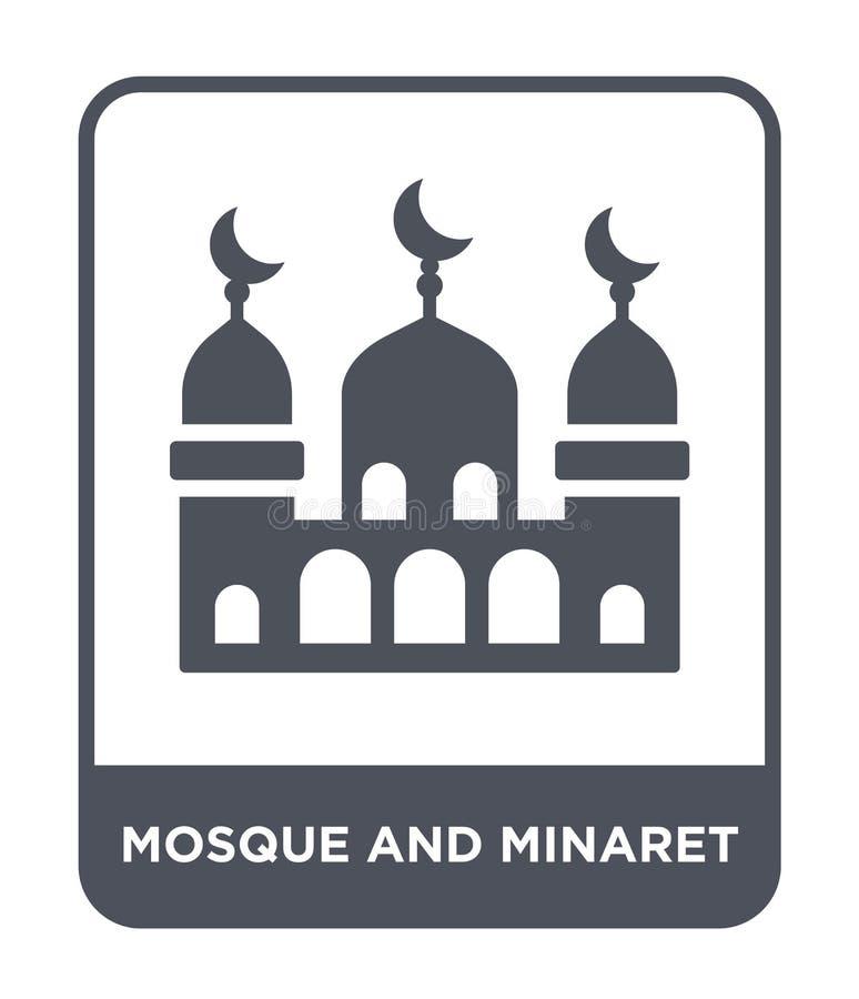 icono de la mezquita y del alminar en estilo de moda del diseño icono de la mezquita y del alminar aislado en el fondo blanco vec ilustración del vector