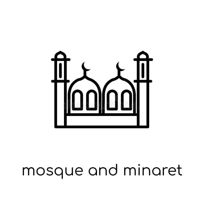 Icono de la mezquita y del alminar Mezquita linear plana moderna de moda del vector ilustración del vector