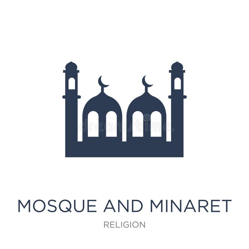 Icono de la mezquita y del alminar Mezquita y alminar planos de moda i del vector stock de ilustración