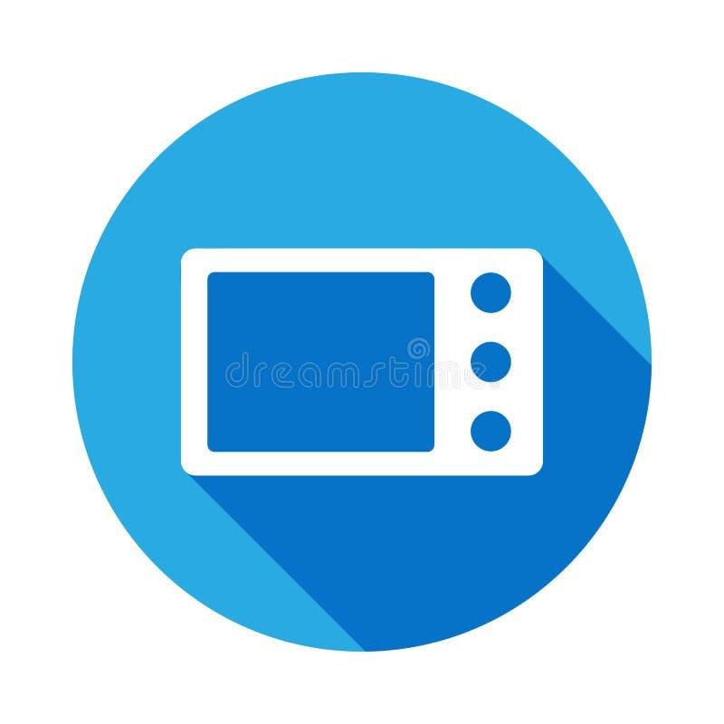 icono de la microonda con la sombra larga Elemento de los iconos del web Icono superior del dise?o gr?fico de la calidad Muestras stock de ilustración