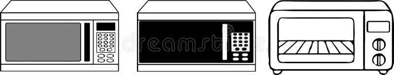 Icono de la microonda en el fondo blanco stock de ilustración