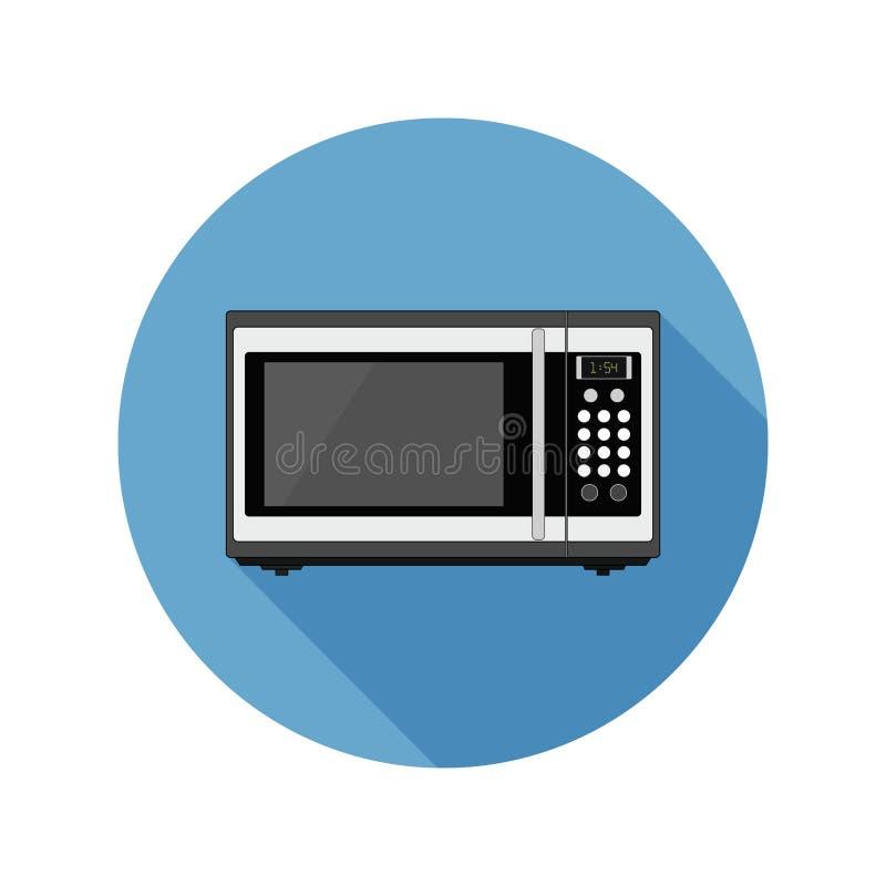 Icono de la microonda/logotipo circulares, planos Azul, aislado en blanco ilustración del vector