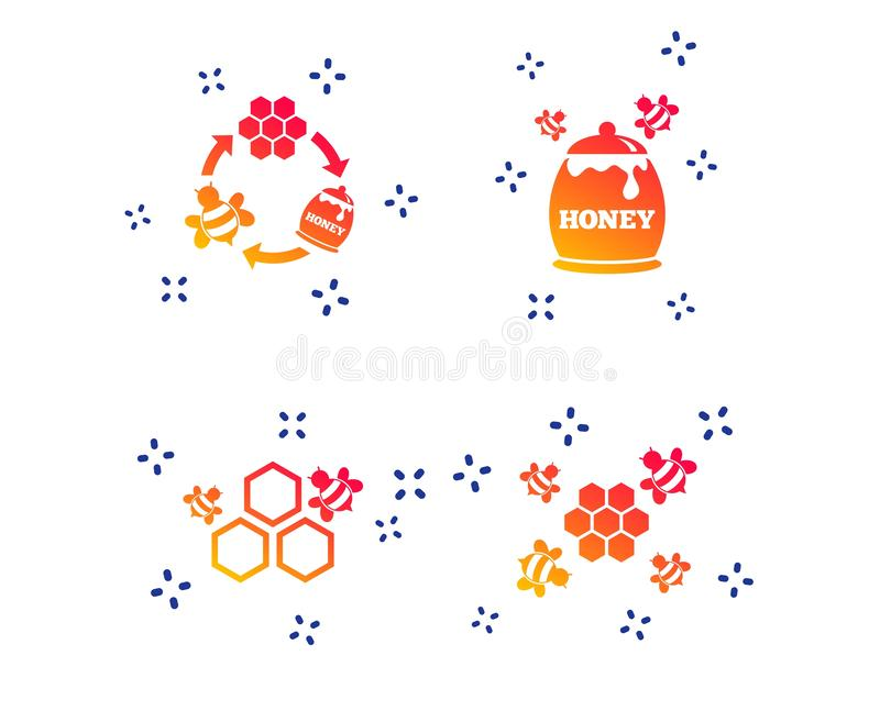 Icono de la miel C?lulas del panal con s?mbolo de las abejas Vector libre illustration