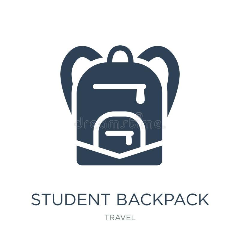 icono de la mochila del estudiante en estilo de moda del diseño icono de la mochila del estudiante aislado en el fondo blanco ico ilustración del vector