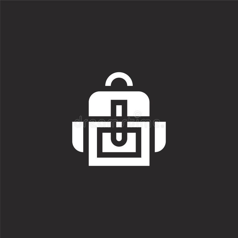 Icono de la mochila Icono llenado de la mochila para el diseño y el móvil, desarrollo de la página web del app icono de la mochil stock de ilustración