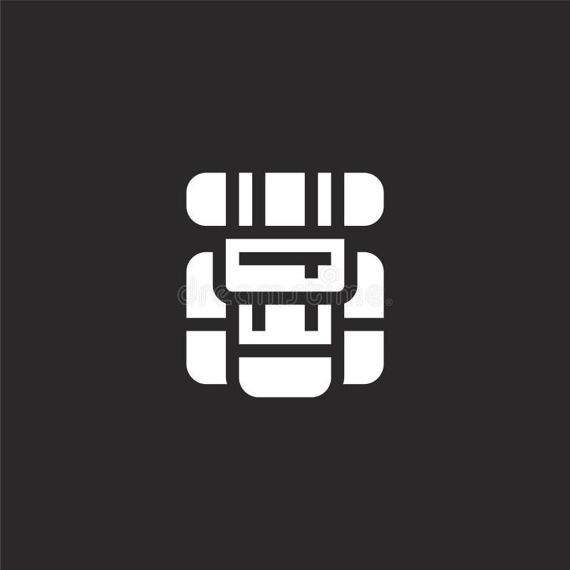 Icono de la mochila Icono llenado de la mochila para el diseño y el móvil, desarrollo de la página web del app icono de la mochil ilustración del vector