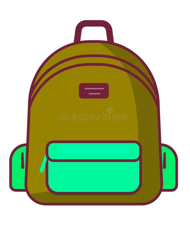 Icono de la mochila - símbolo de la escuela del vector - icono del viaje ilustración del vector