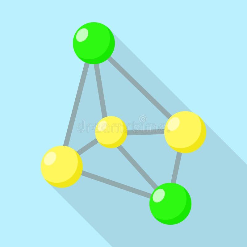 Icono de la molécula del oxidante, estilo plano stock de ilustración
