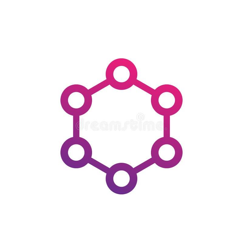 Icono de la molécula en blanco libre illustration
