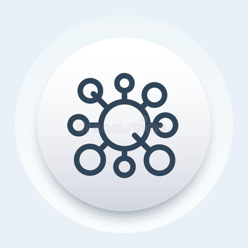 Icono de la molécula, estilo linear stock de ilustración