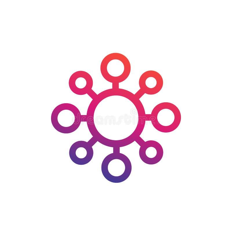 Icono de la molécula, estilo linear en blanco ilustración del vector