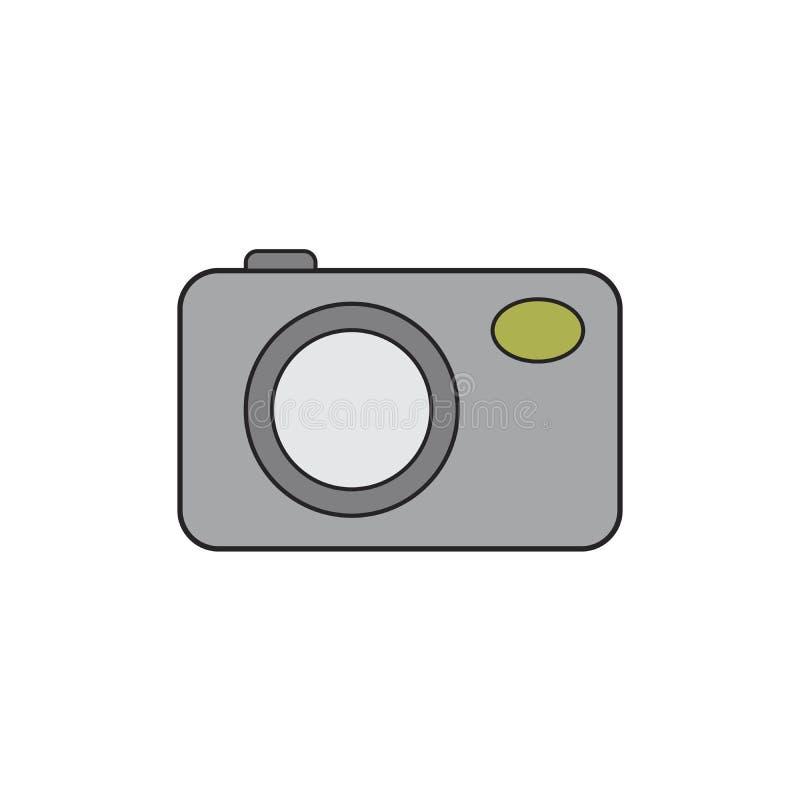 Icono de la moneda de plata de la cámara de la foto El estilo del vector es un símbolo plano de la moneda de los gris plateados libre illustration
