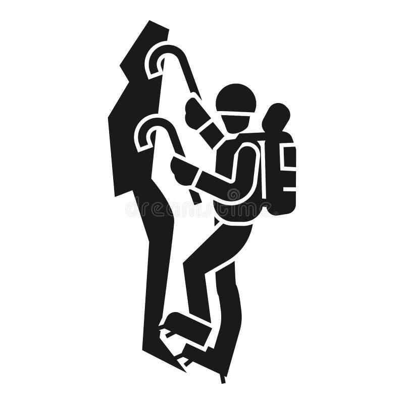 Icono de la montaña del hombre que sube, estilo simple stock de ilustración