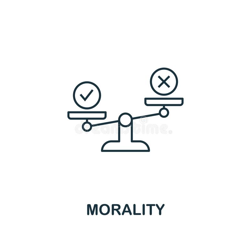 Icono de la moralidad Línea fina símbolo del diseño de la colección de los iconos de la ética empresarial E ilustración del vector