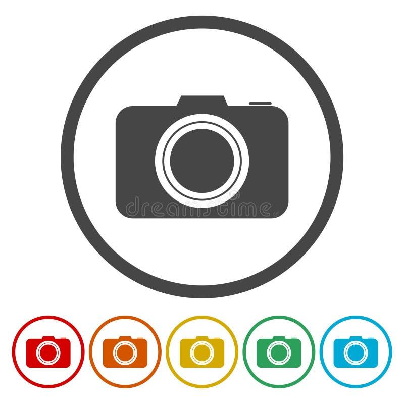 Icono de la muestra de la cámara de la foto Símbolo de la cámara de la foto de Digitaces stock de ilustración
