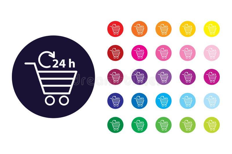 Icono de la muestra de la carta que hace compras Símbolo del color de la carta que hace compras libre illustration