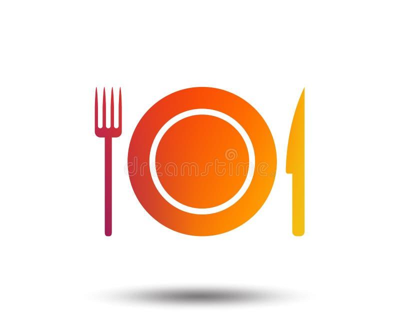 Icono de la muestra de la comida Símbolo de los cubiertos Cuchillo y bifurcación stock de ilustración
