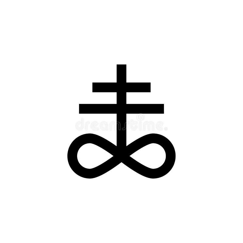 Icono de la muestra de la cruz del leviatán del satanismo Elemento del icono de la muestra de la religión para los apps móviles d libre illustration