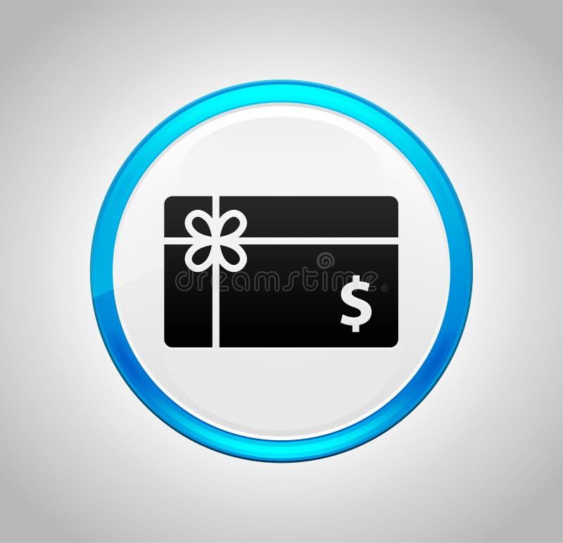 Icono de la muestra de dólar de la tarjeta de regalo alrededor del botón azul stock de ilustración