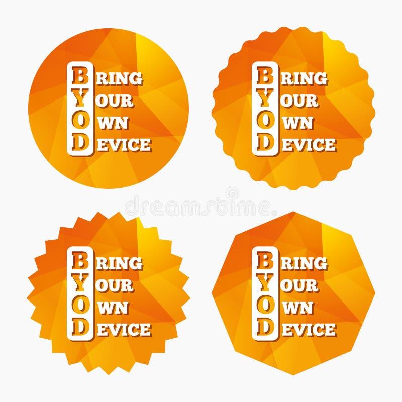 Icono de la muestra de BYOD Traiga su propio símbolo del dispositivo ilustración del vector