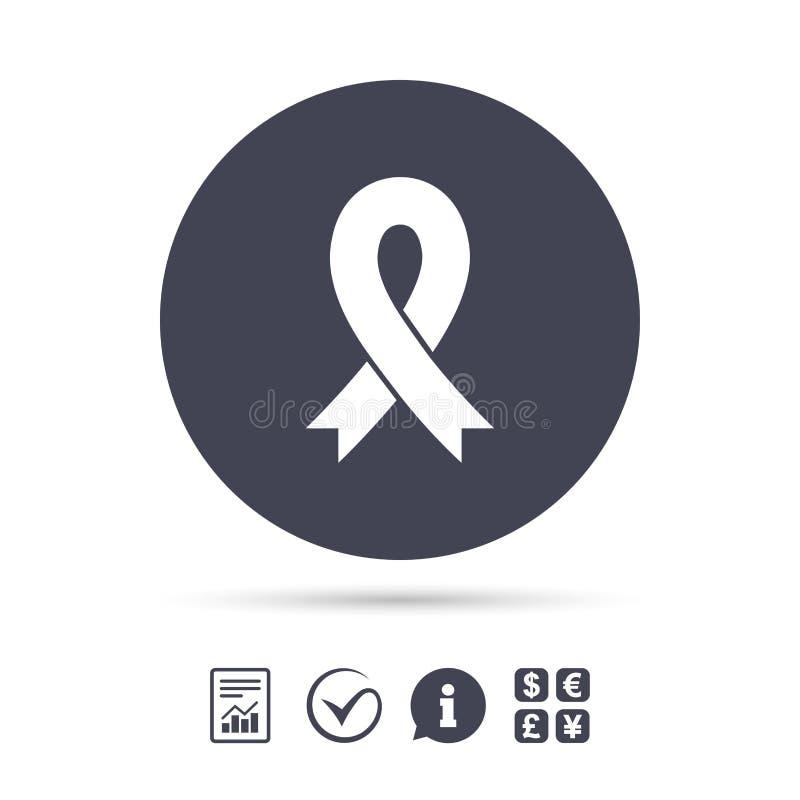 Icono de la muestra de la cinta Símbolo del conocimiento del cáncer de pecho ilustración del vector