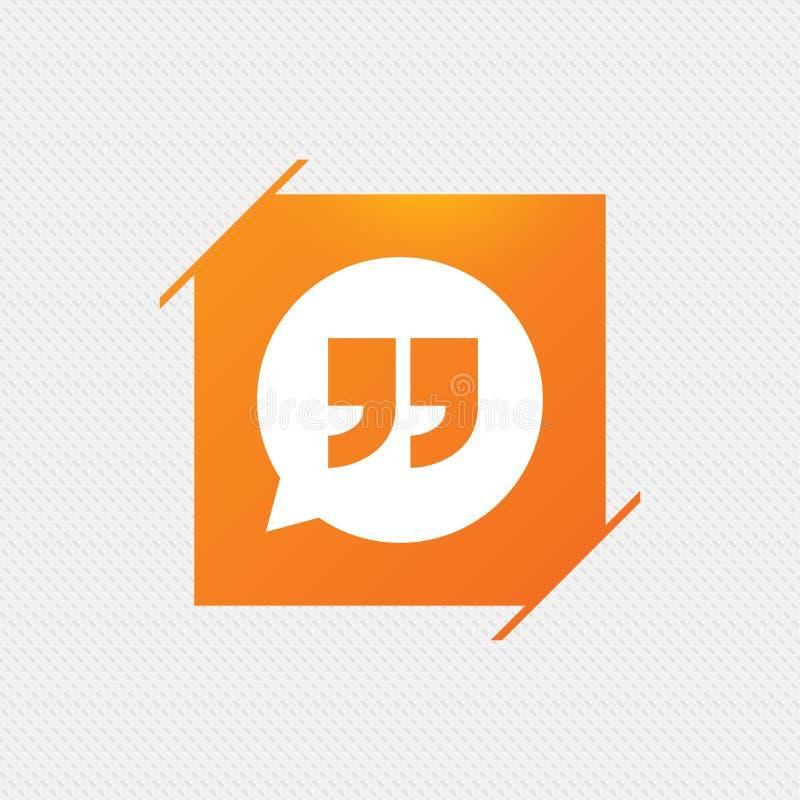 Icono de la muestra de la cita Símbolo de la marca de cita stock de ilustración