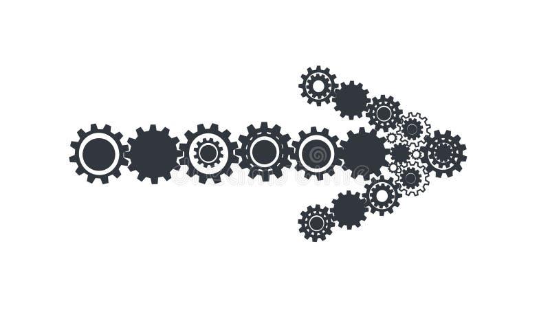 Icono de la muestra de la flecha, botón siguiente con vector de los engranajes libre illustration