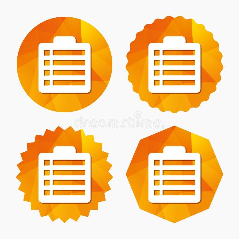 Icono de la muestra de la lista de control Símbolo de la lista de controles ilustración del vector