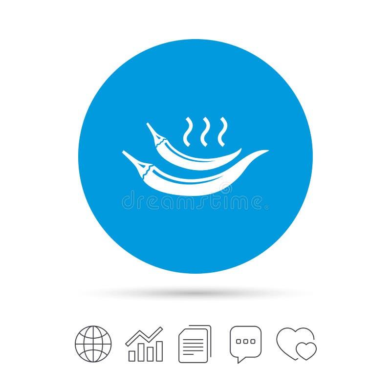 Icono de la muestra de la pimienta del chile picante Símbolo picante de la comida ilustración del vector