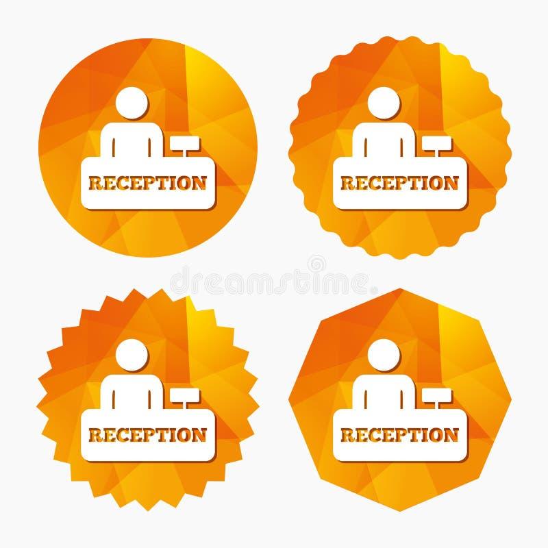 Icono de la muestra de la recepción Tabla del registro del hotel ilustración del vector