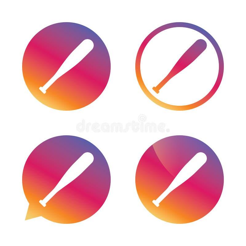 Icono de la muestra del bate de béisbol Símbolo del deporte ilustración del vector