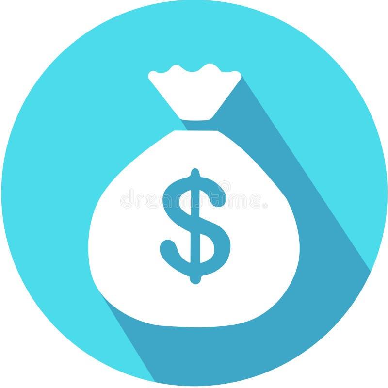 Icono de la muestra del bolso del dinero Símbolo de moneda de USD del dólar Vector del icono con la sombra larga Estilo plano del ilustración del vector