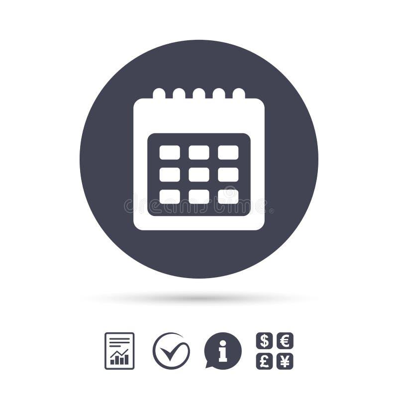 Icono de la muestra del calendario Recordatorio de la fecha o del evento stock de ilustración