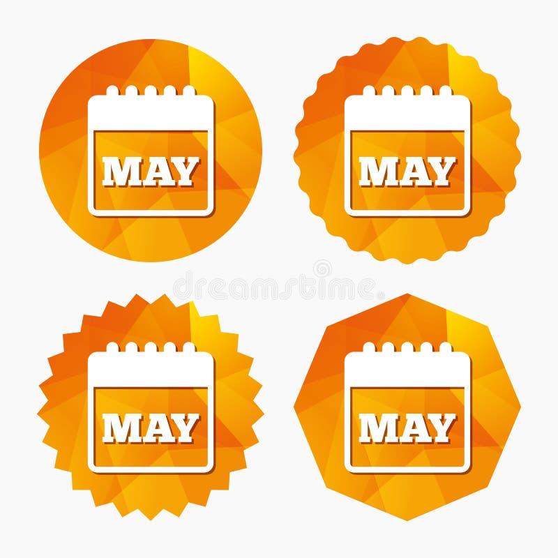 Icono de la muestra del calendario Símbolo del mes de mayo stock de ilustración