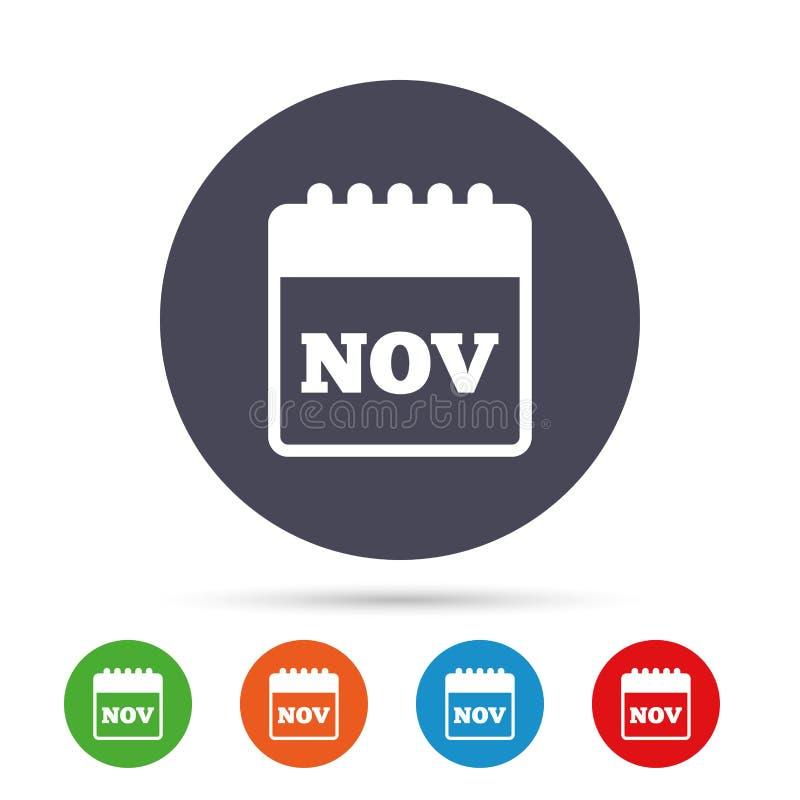 Icono de la muestra del calendario Símbolo del mes de noviembre libre illustration