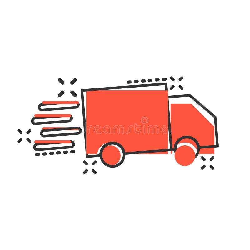 Icono de la muestra del camión de reparto en estilo cómico Ejemplo de la historieta de Van vector en el fondo aislado blanco Conc libre illustration