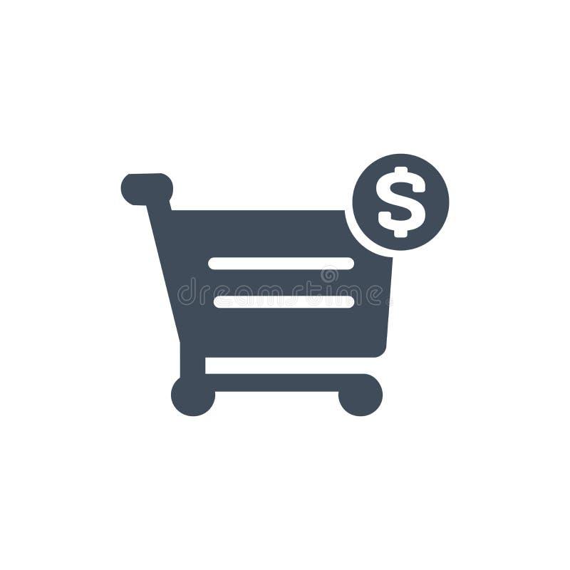 Icono de la muestra del carro de la compra y de dólar, ejemplo del vector aislado en el fondo blanco stock de ilustración