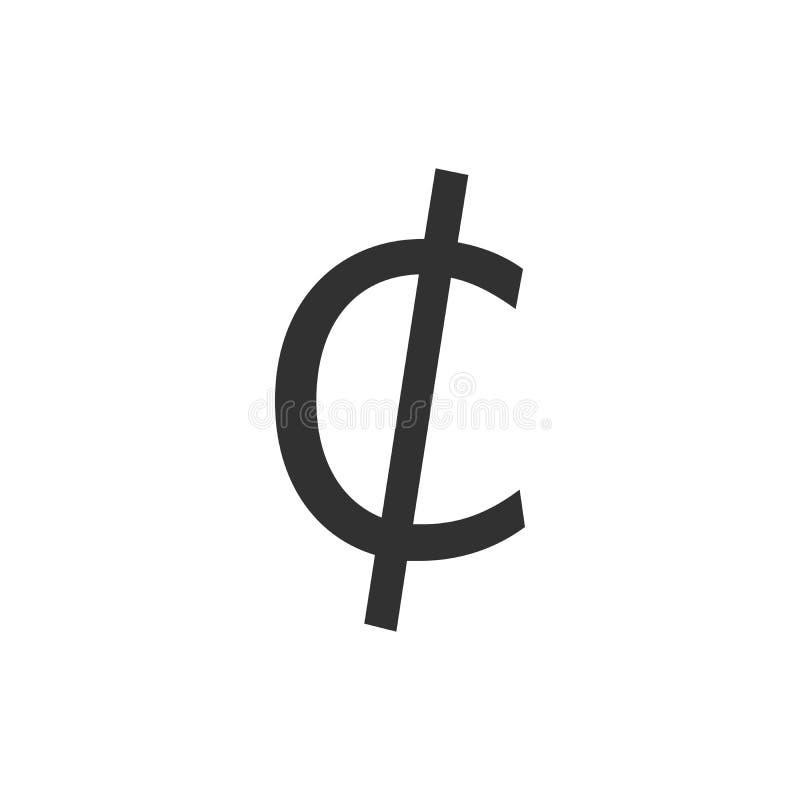 Icono de la muestra del centavo Símbolo del dinero Ilustración del vector aislada en el fondo blanco stock de ilustración