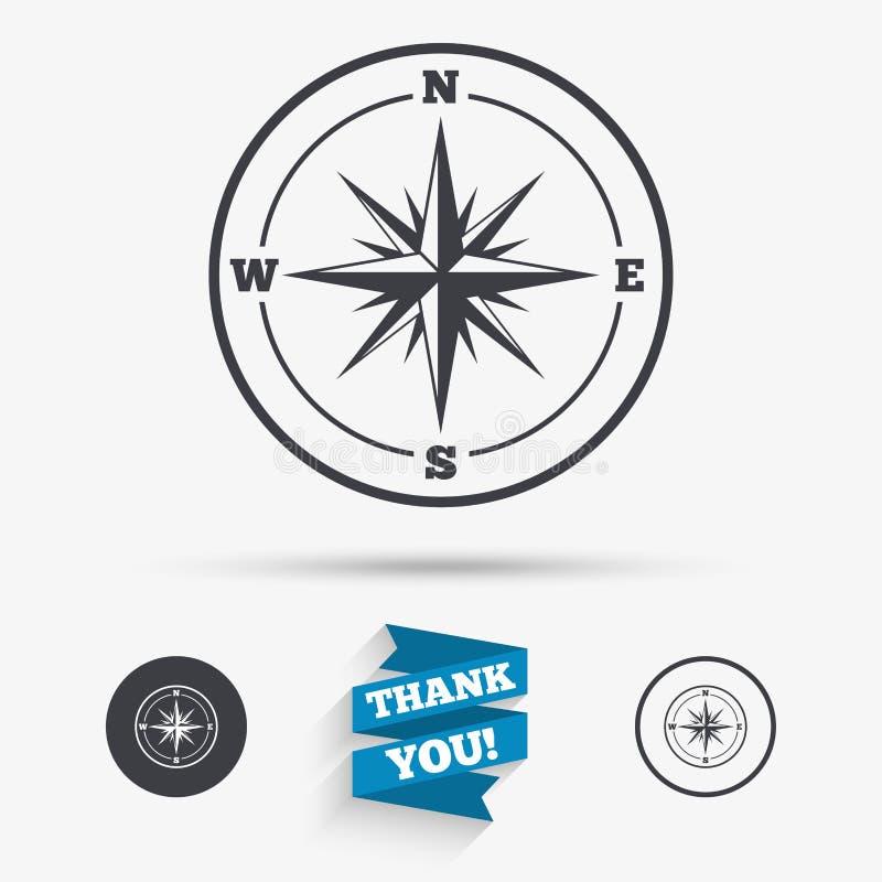 Icono de la muestra del compás Símbolo de la navegación de Windrose stock de ilustración