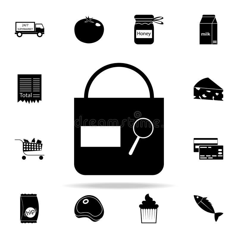 icono de la muestra del control del bolso comercialice el sistema universal de los iconos para el web y el móvil stock de ilustración
