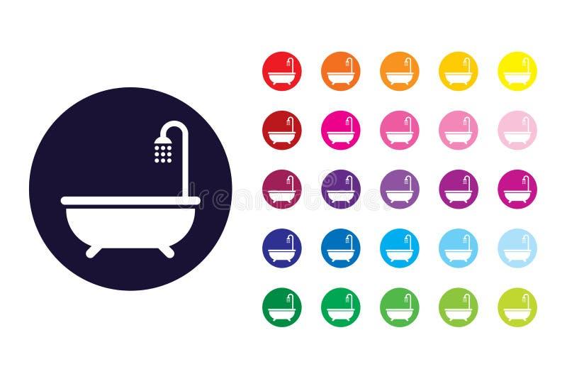 Icono de la muestra del cuarto de baño Símbolo del color del cuarto de baño stock de ilustración