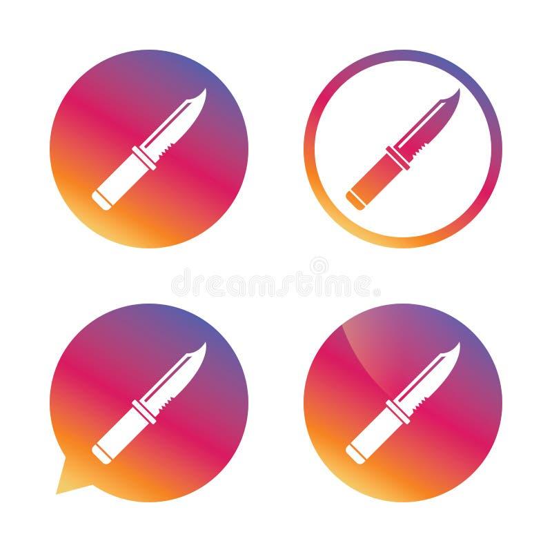 Icono de la muestra del cuchillo Símbolo afilado de las armas libre illustration