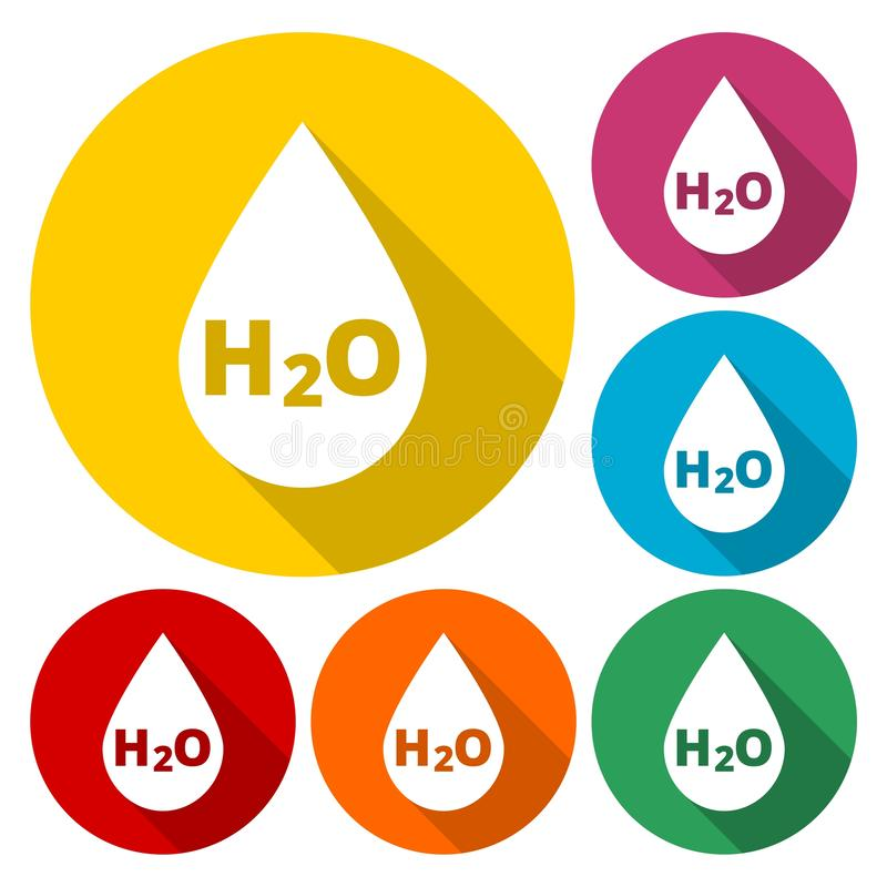 Icono de la muestra del descenso del agua de H2O stock de ilustración