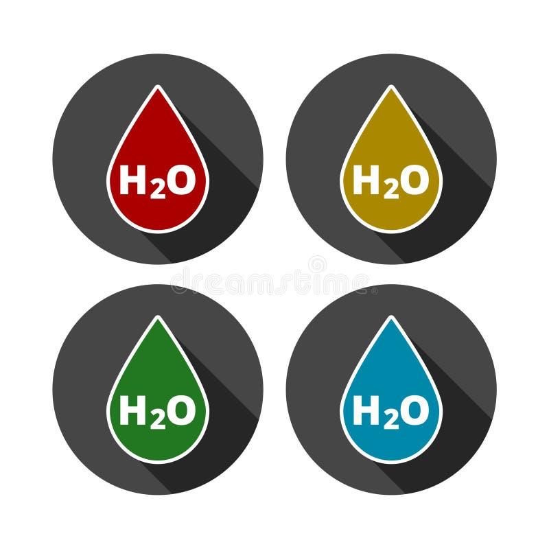 Icono de la muestra del descenso del agua de H2O ilustración del vector