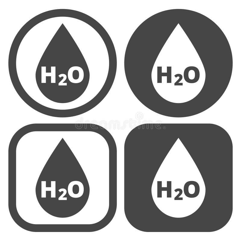 Icono de la muestra del descenso del agua de H2O libre illustration