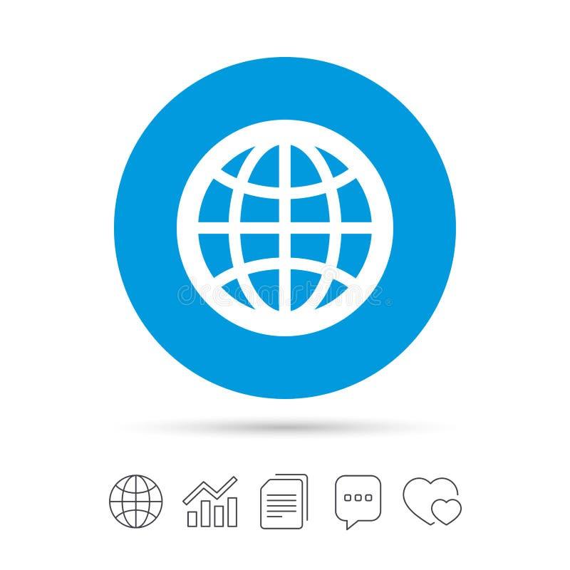 Icono de la muestra del globo Símbolo del mundo stock de ilustración