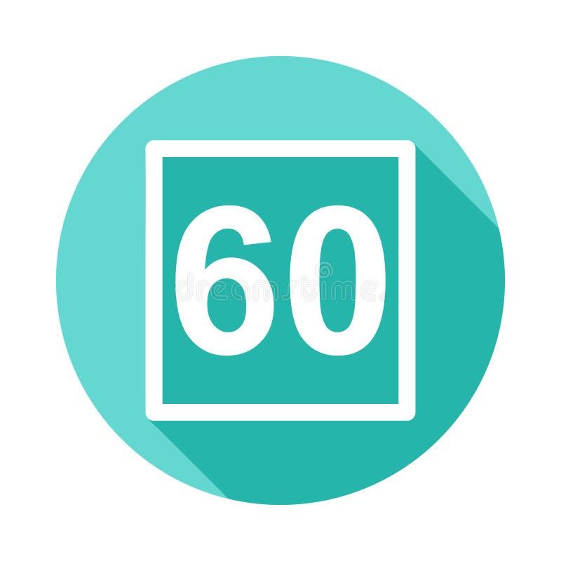icono de la muestra 60 del límite de velocidad en estilo largo plano de la sombra ilustración del vector
